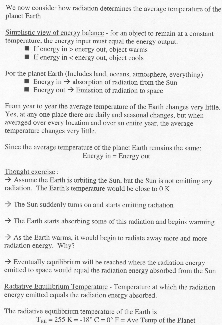 Atmo336 Fall 2010 Diagram Showing Energy Transfer By Radiation Infrared Is Radiative Equilibrium Temperature Of The Earth Only Form