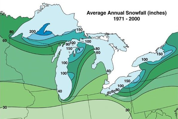 Lake Effect Snow - Average annual snowfall map us