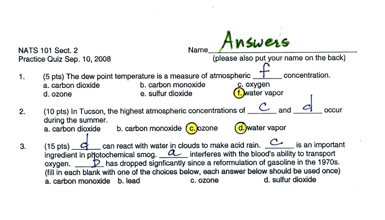 Answers to the Practice Quiz