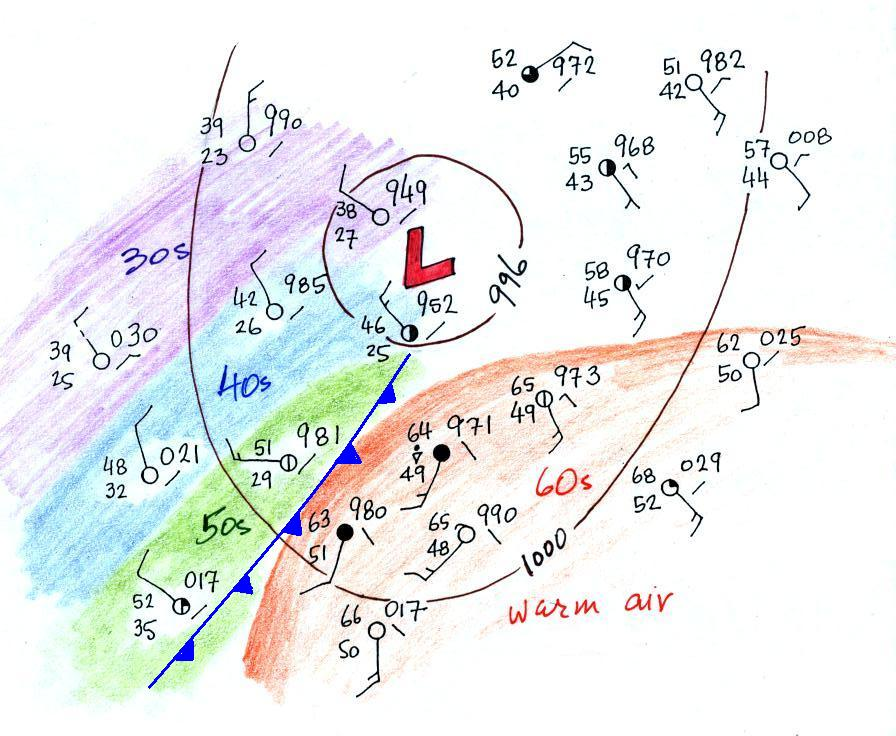 front Mature cold low and pressure