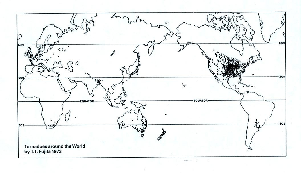 A Year S Worth Of Tornado Activity Plotted On A World Map Note The Name At Bottom Left T T Fujita Mr Tornado The Scale Used To Rate Tornado Strength