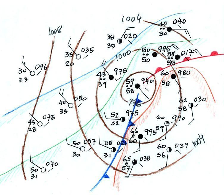 Surface Weather Map Analysis - Us frontal boundary map