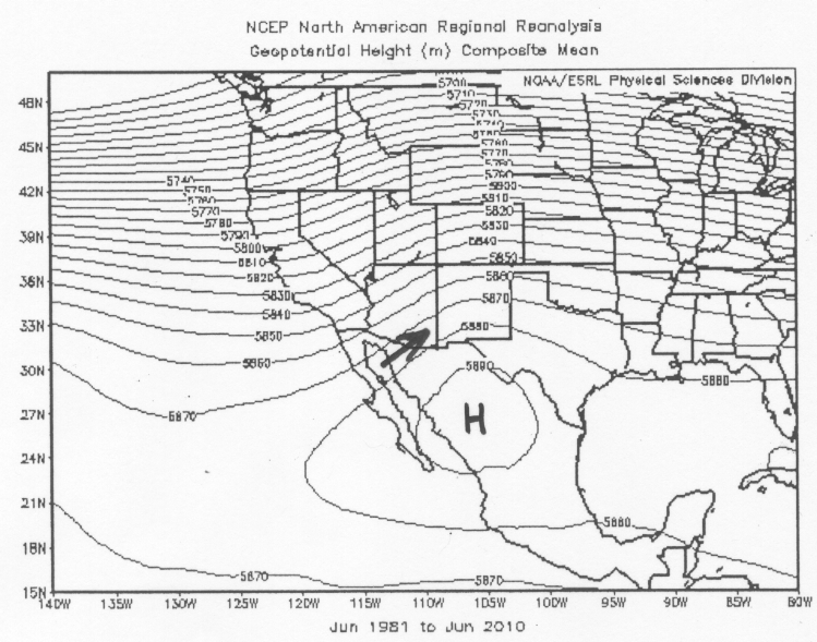 July Average 500 Mb Heights And Tucson Wind Direction August Average 500 Mb Heights And Tucson Wind Direction